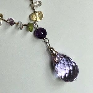 Handcrafted Silver Amethyst Gemstone Necklace